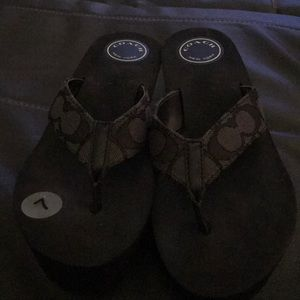 Coach black platform sandal never used